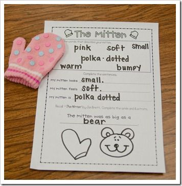 A little adjective activity that really made the kids think!   The kids had to choose a mitten from my little stash and use at least 5 words to describe it.  Some only had to write 3 words They had to complete three sentences using their bank of descriptive words.  Finally, the kids had to complete a simile using The Mitten as their reference.