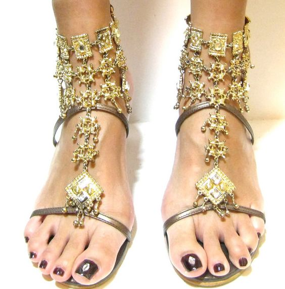 Sexy Gold Egyptian Beaded Jeweled High Heels Shoes. $110.00, via ...
