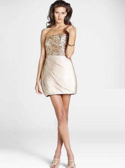 Spalte strapless Paillette Sleeveless Short Mini-elastische Gewebe Satin Cocktail Homecoming Kleider214,18 €   122,39 €