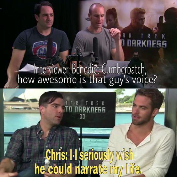 Zachary Quinto & Chris Pine on Benedict Cumberbatch's voice.