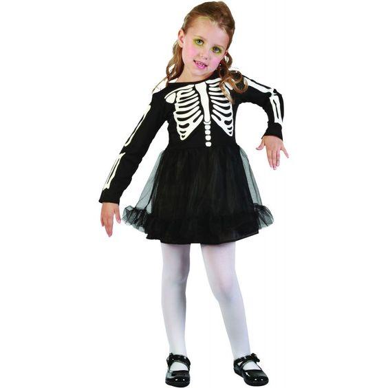 Ce déguisement de squelette est pour petite fille. Il se compose d'une robe…