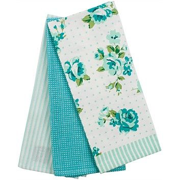 Briscoes - Just Home Rosalea Tea Towels Teal