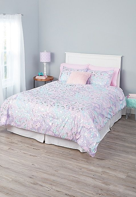 marble 7 piece bed in a bag queen