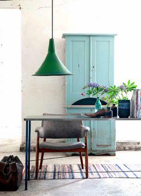 blue cupboard, green lamp