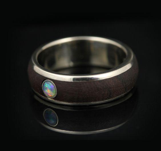 Iron wood and opal wedding band