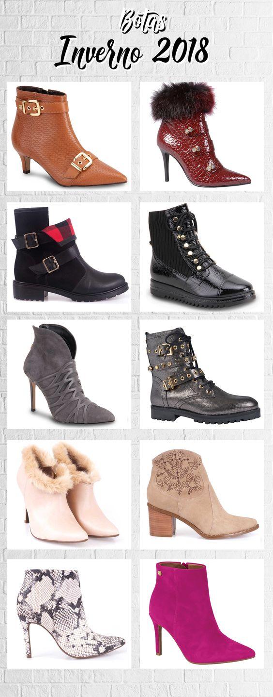 As mais lindas botas para o inverno de 2018 - Forte tendência nas passarelas agora invade as ruas do Brasil.  Anote as tendências mais fortes para botas: Chelsea Boots (com elástico do lado), Ankle Boots, salto Kitten Heels, botas estilo Western, textura de réptil, coturnos e biker boots.
