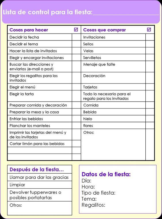 Lista para organizar fiestas printables pinterest for Como organizar una fiesta de 15