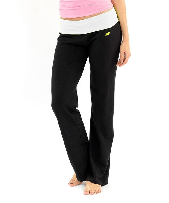 Loving this White & Black Fold-Over Knit Jersey Yoga Pants on #zulily! #zulilyfinds
