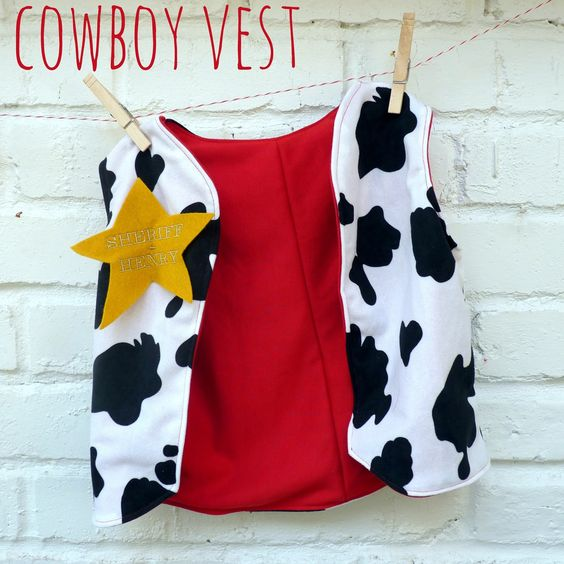 Easy to follow tutorial to make a cowboy or cowgirl vest just like Woody or Sheriff Callie. Perfect for Halloween costumes!