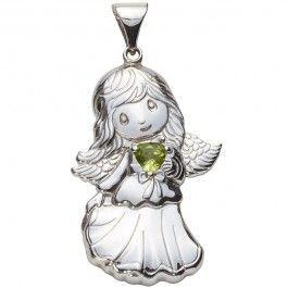 Sterling Silver Angel Birthstone Pendant - August