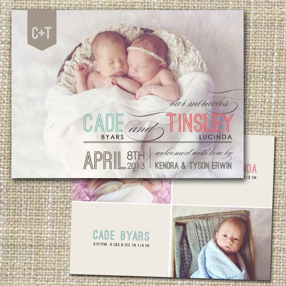 twins birth announcement mixed modern – Pinterest Birth Announcement