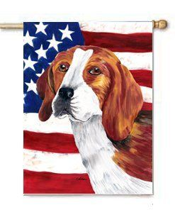 Beagle USA Patriotic Flag Large Canvas House Flag 28x40 Inches by CTI. $39.99. House flag is made from a 100% polyester heavy weight canvas material. Not your typical house flag that you might find from a mass merchant.  This flag is much heavier than most flags currently being sold by other manufacturers. This flag is fade resistant and weather proof. The flag measures approximately 28 inches x 40 inches (wooden flag pole, hanging bracket or yard stand sold sep...