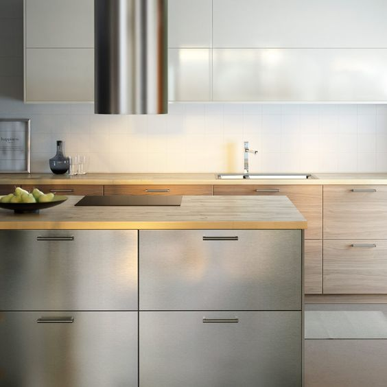 modern ikea kitchen with wooden worktops and a combination