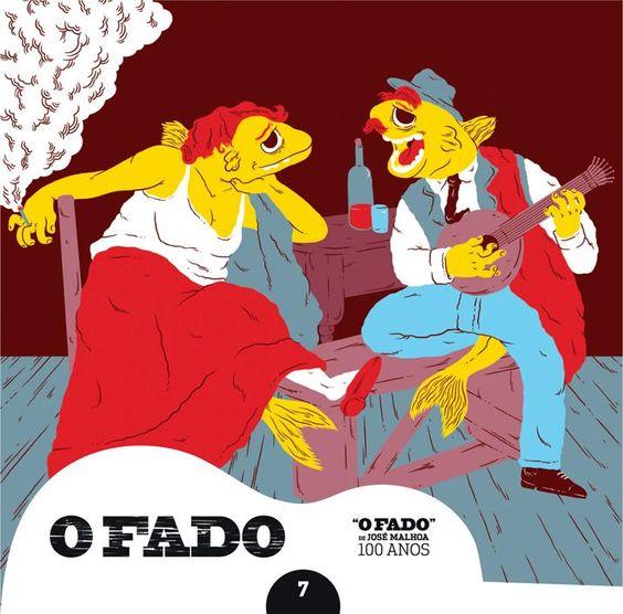 """2012 O Fado de José Malhoa 100 Anos 7 [Tugaland/A Bela e o Monstro] ilustração: Afonso Ferreira """"O fado"""" #albumcover #illustration #fado #music"""
