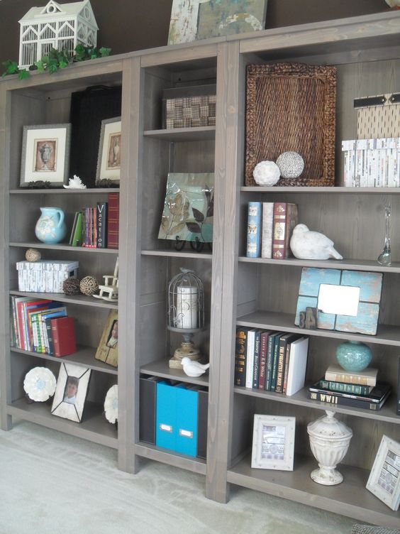 Ikea Hemnes Bookshelves In Grey Brown Dining Room Turned Library Office Ho