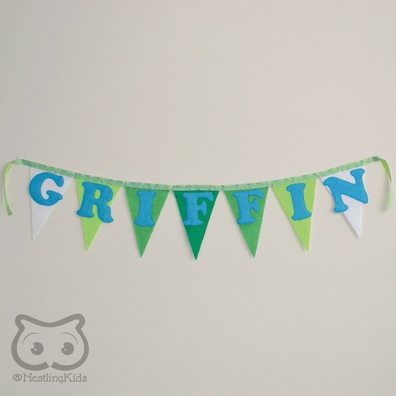 Felt Baby Name Bunting, Custom Baby Name Banner, personalized up to 10 Letters - This listing is for a custom made felt baby name bunting banner with up to 10 flags and letters, bound with a contrasting ribbon. You choose the number of flags, the number of letters, and the colour scheme. This baby name bunting banner is perfect for a nursery, kids room, party decor, or anywhere that needs a burst of colour.