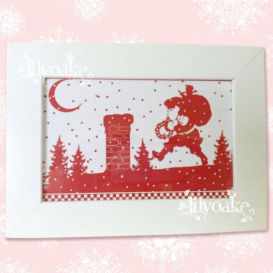 Up On The Rooftop Framed Christmas Silhouette by Lilyoake, on ETSY for $10.00 + shipping