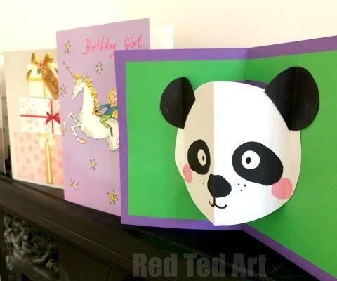Easy Panda Pop Up Card Panda Card Crafts For Kids Origami Pig