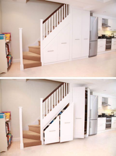 Basement Stairs Design: Basement Kitchen, Under Stair Cabinets