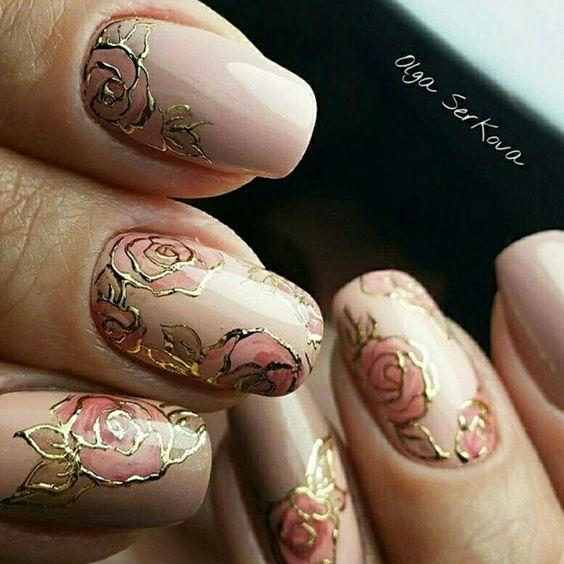 Pink gold floral roses