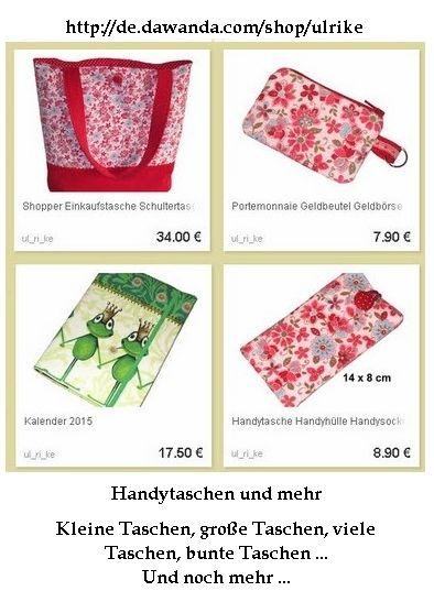Ulrike mit ihren tollen Taschen, Täschen, Kalenderhüllen usw. Sie hat verarbeitet wo wunderschöne und lustige Stoffe Einfach toll http://de.dawanda.com/shop/ulrike -