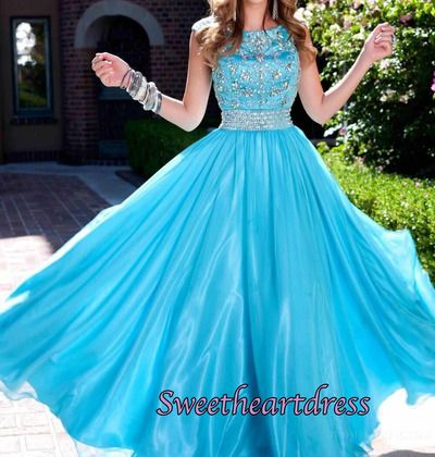 Beautiful beaded blue tulle long prom dress for teens, occasion dress, modest prom dress for 2016 #coniefox #2016prom