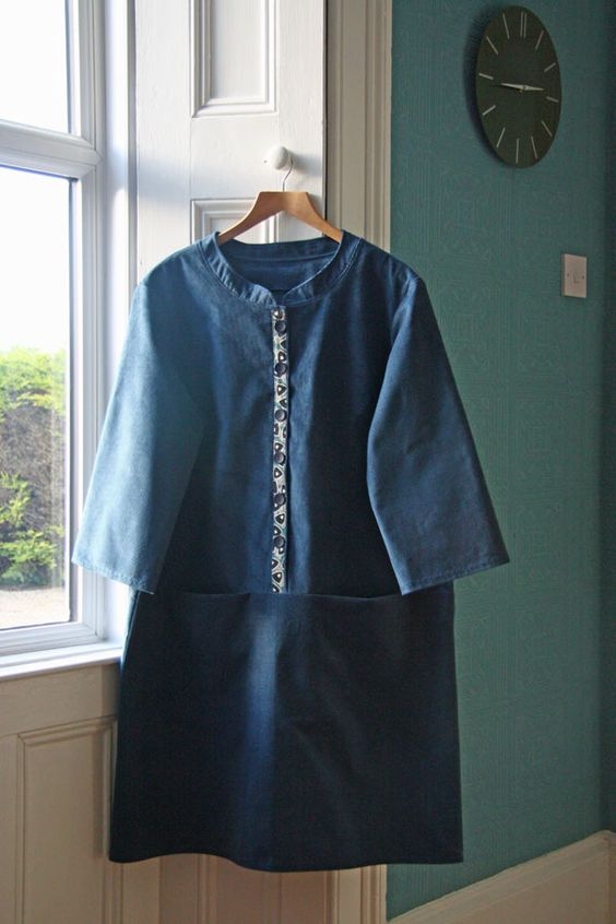 Merchant and Mills Union dress.  It started off life as a skirt.  Then I decided it had to be a dress, but made a mess of the button holes.  The button panel fabric is courtesy of prolificprojectstarter - used with many thanks!  Finished today, but started in 2015 :-):