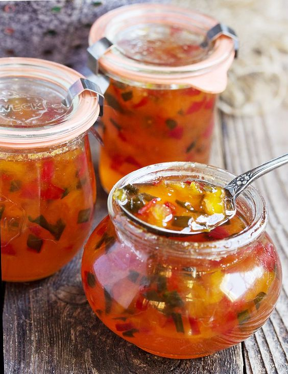 Sweet peaches pair with red and jalapeno peppers, to make a jam that is both sweet and spicy, delicious and versatile. Peach and Pepper Jam