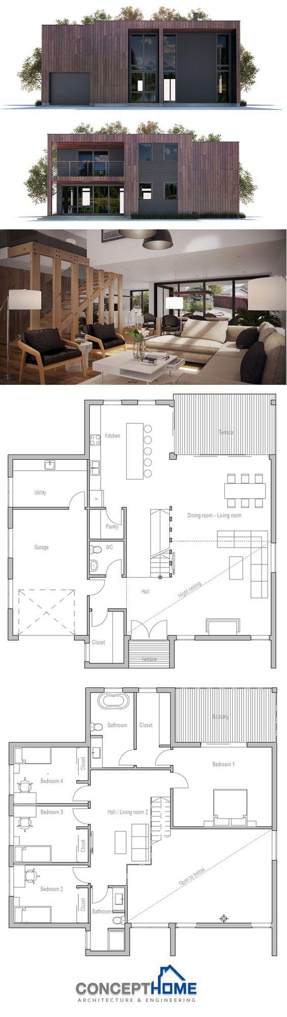 Modern house plan house plans contemporary modern for Plan villa moderne