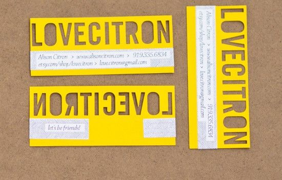 yellow punch-out business cards