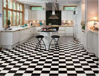 3 places to buy black and white checkerboard floor tile for Black and white check floor