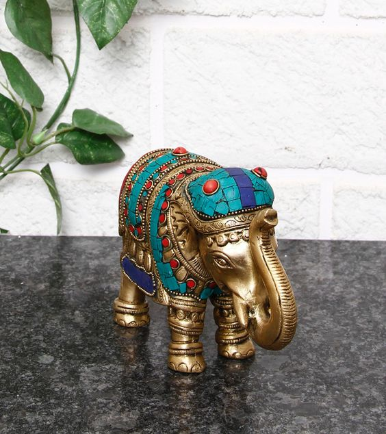 Multicoloured Embellished Elephant Statue=Imlistreet $ 95