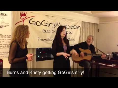 Burns and Kristy Singing And Being Silly in the GoGirls Showcase Room at Folk Alliance 2012