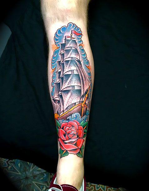 Traditional Ship Tattoo : traditional, tattoo, Tattoo, Tattoo,, Tattoos