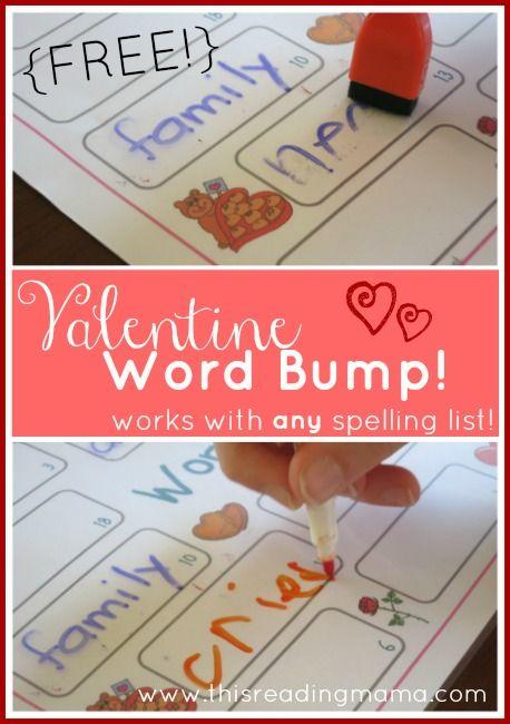 free valentine spelling game valentine word bump homeschool valentines and words. Black Bedroom Furniture Sets. Home Design Ideas