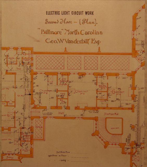Biltmore house 2nd floor blueprint floorplan biltmore for Biltmore estate floor plan