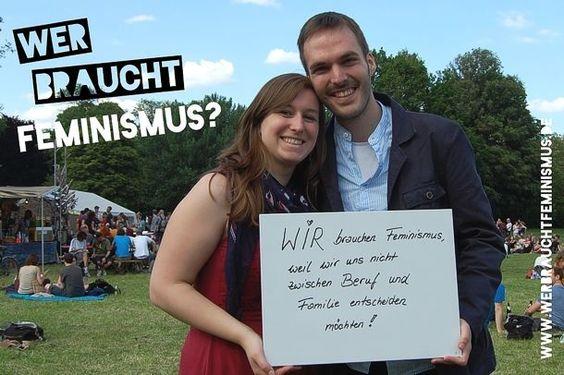 """""""Wir brauchen #Feminismus, weil wir uns nicht zwischen Beruf und Familie entscheiden möchten!"""" (Andrea und Daniel)"""