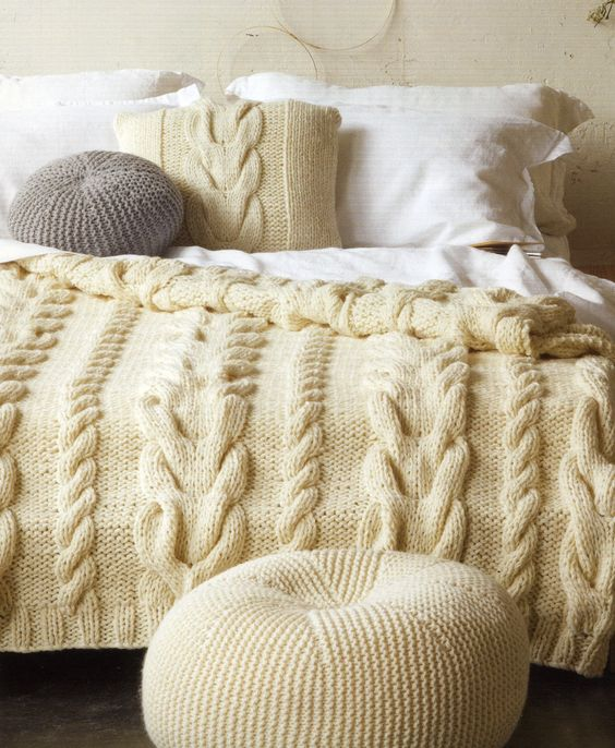 Cable Cushion Cover, Bedspread & Pouffe from the Patons Family & Home...