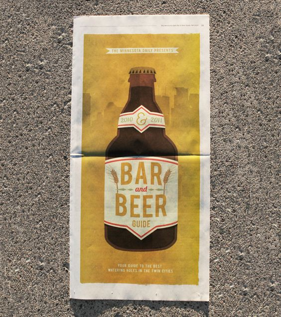 A cover for the 2010 Bar & Beer guide published by the Minnesota Daily. Simple, illustrative and inspired by the fact that nothing says the twin cities more than screen printing and beer.