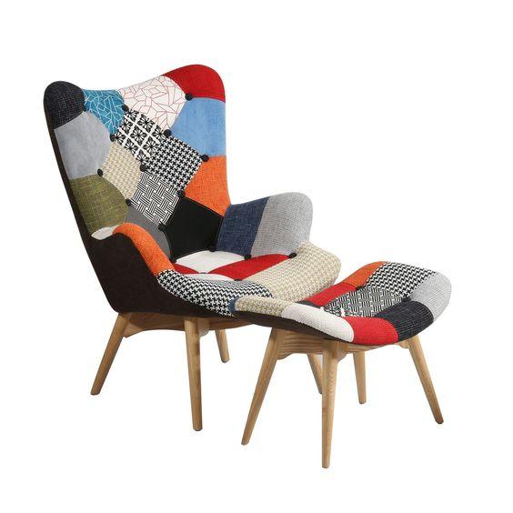 Fauteuil de design dont la structure est en bois de fr ne et est tapiss en t - Fauteuil tissu patchwork ...