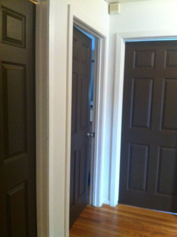 Got the idea to paint interior doors on pinterest i went for Brown interior paint colors