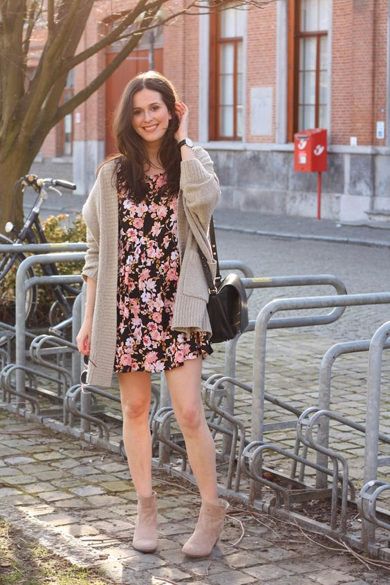 Spring Outfit Floral Babydoll Dress Oversized Cardigan