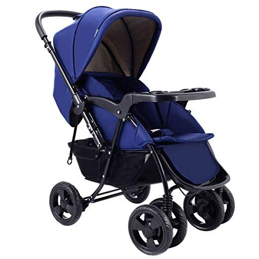 BABY JOY Two Way Baby Stroller Storage Basket Sleeping Cushion Free Standing Sapphire Blue Infant Foldable Conversable Pushchair w// 5- Point Safety Harness