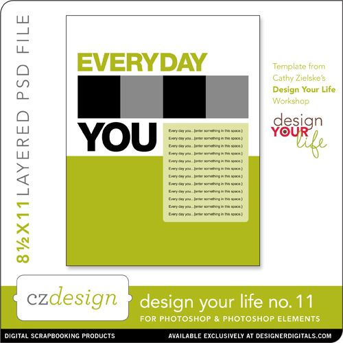 Design Your Life Layered Template No. 11 - Digital Scrapbooking Templates - Cathy Zielske
