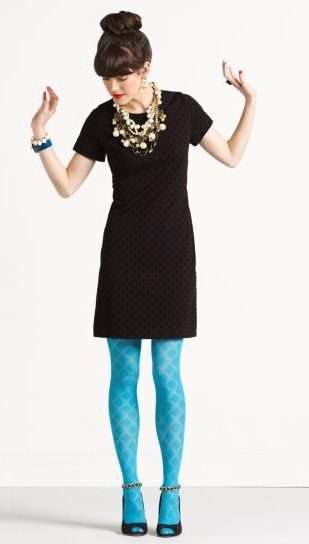 Make a plain black dress more interesting with super bright tights remember hem line just little above the knee