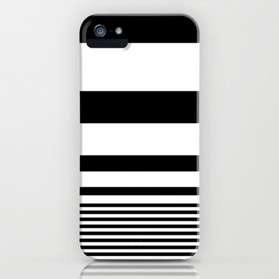 Black and white Striped phone case by PUFF.