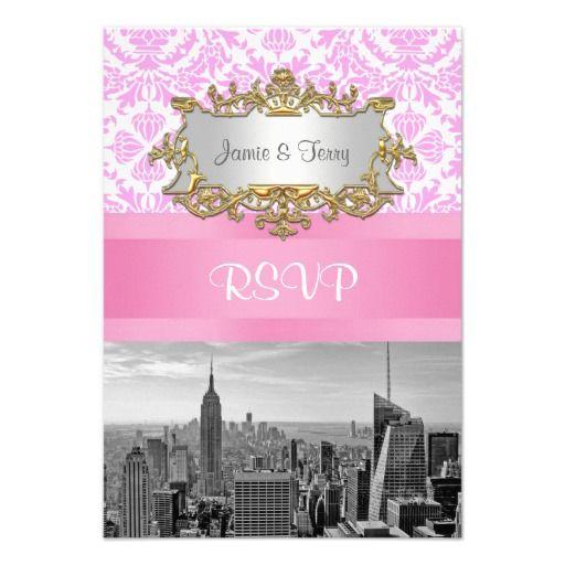 NY City Skyline BW D4P Pink Damask  RSVP 2 Custom Announcements
