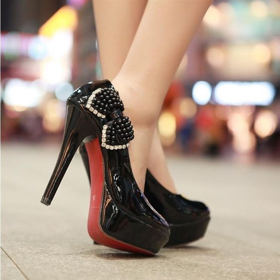Ultra- high heels shoes diamond pearl bow heels