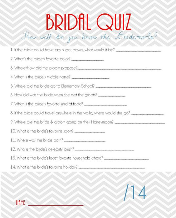 Bridal shower games, Shower games and Quizes on Pinterest