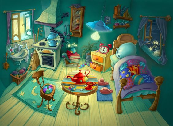 1164x850 3649 the witch s room 2d illustration cartoon for Room design 2d